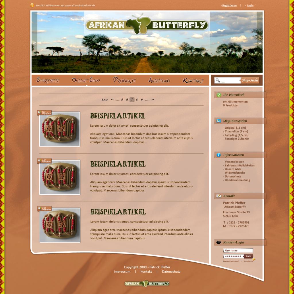 Shop-Design und Programmierung für africanbutterfly