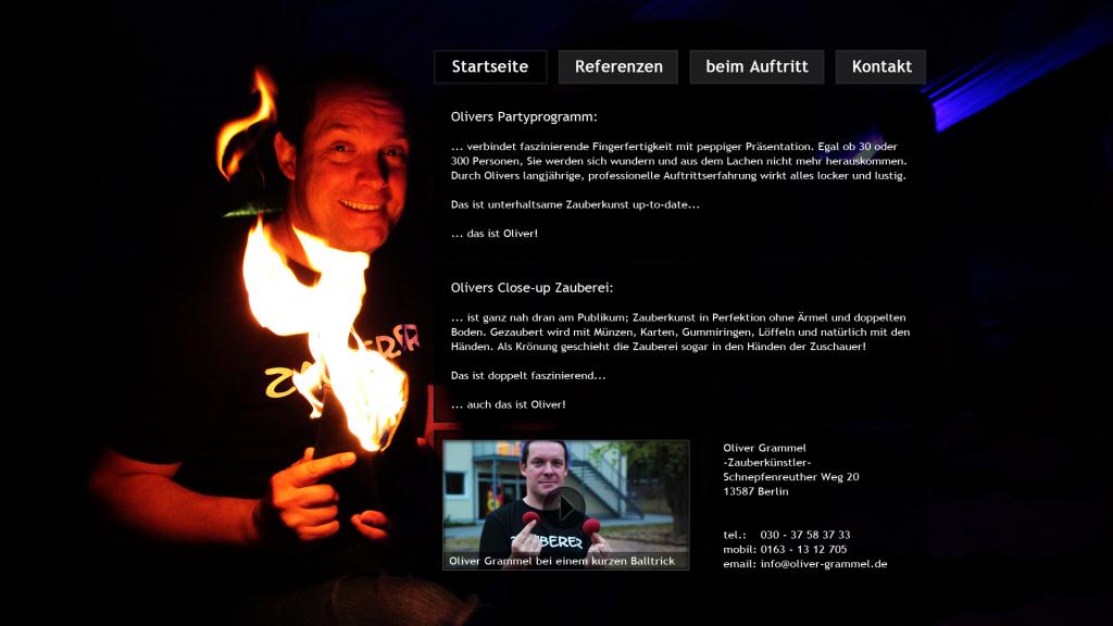 Webdesign für Zauberer Oliver Grammel