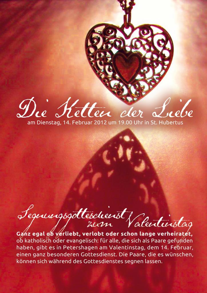 Plakat für einen Valentinsgottesdienst